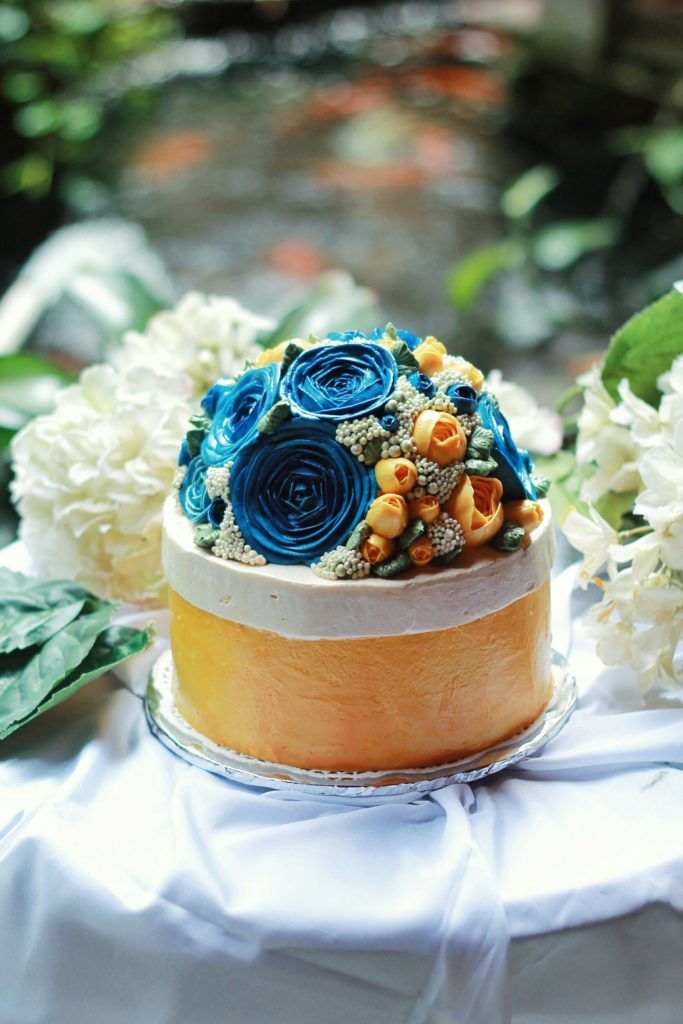 Korean Flowers 3D Tart Biru Kuning 2