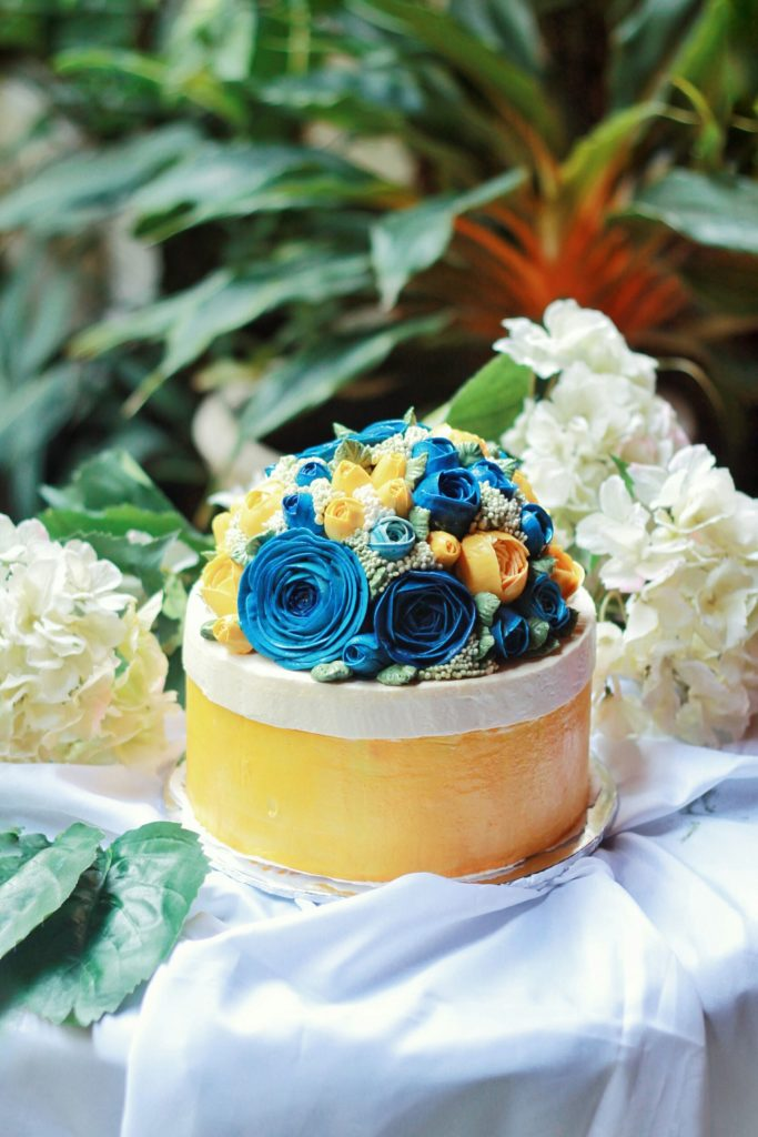 Korean Flowers 3D Tart Biru Kuning